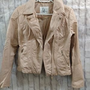 Colynn Light Pink Faux Leather Moto Jacket
